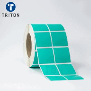 Thermal Label 50x50 2Up, Green, Freezer Adhesive